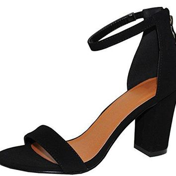 Cambridge Select Womens Open Toe Single Band Stretch Ankle Strappy Chunky Stacked Block Heel Sandal