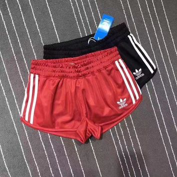 DCCKFC8 Adidas Women Sports Classic Three Stripe Red Shorts