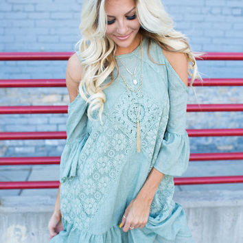 Within My Dreams Lace Ruffle Dress Olive