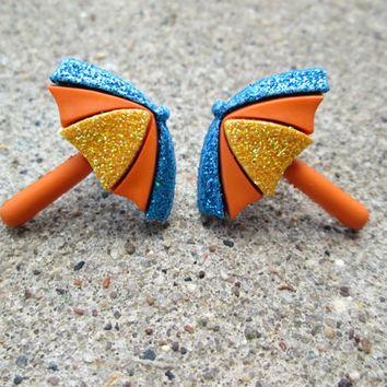 Beach Umbrella Earrings, Sparkly Studs, Orange, Blue, Yellow, Summer Fashion, Tropical Luau Party, Hypoallergenic