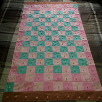 "Vintage Handmade HAND TIED Checker Baby Crib Patchwork Quilt - Baby Blanket - 31"" x 54"""