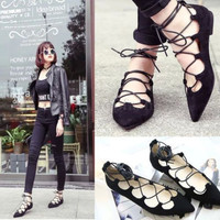 2016 Fashion Women Lady Lace Up Flat Sandals Pointed Toe Beach Roma Low Shoes