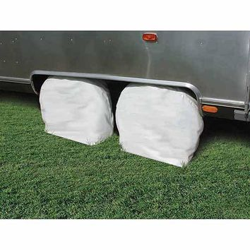 "Camco 40""-42"" Wheel & Tire Vinyl Protector Covers, Arctic White, Set of 2"