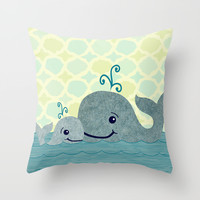 Whale Mom and Baby Throw Pillow by Elephant Trunk Studio