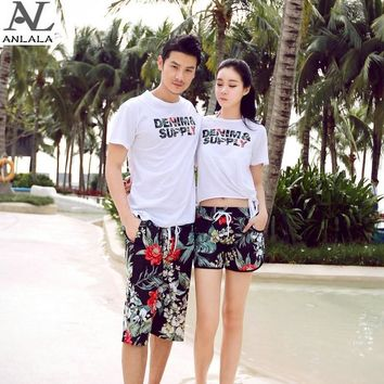 summer Couple Quick-drying Flowers black pattern Large size Beach pants surfing