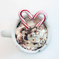 Christmas Photo, I Heart Cocoa, 10x8 Print, Food Photography, White, Red, Minimal Photograph, Holiday Home Decor