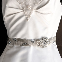 Wedding dress sash with vintage broach, Wedding Belts, Sashes, Ribbons, Ties - Bridal Accessories