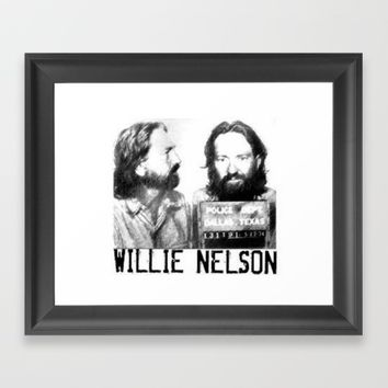 Willie Nelson Mug Shot Framed Art Print by Neon Monsters