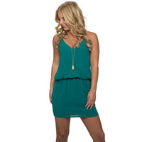 On The Low Dress In Teal