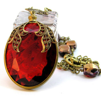 Red Ruby Pendant Necklace
