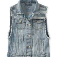 Aeropostale Light Wash Americana Denim Vest - Light Wash,
