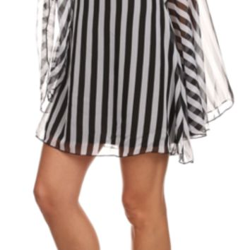 Striped Chiffon Mini Dress