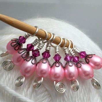 Pink Teardrop Small Needle Stitch Markers for Sock Knitters