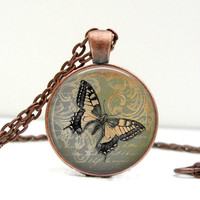 Vintage Butterfly Necklace : Green & Terracotta