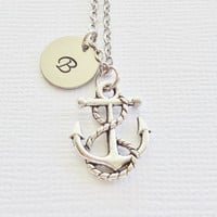 Anchor Necklace Nautical Ship Boat Ocean Sea Beach Summer Gift Friend Birthday Gift Silver Jewelry Personalized Monogram Hand Stamped Letter