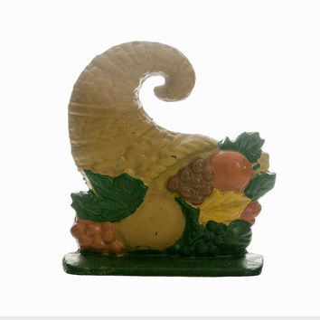 Cornucopia Doorstop Cast Iron Horn of Plenty Doorstop Vintage Thanksgiving Rustic Decor Fall Fruit Autumn Leaves Farmhouse Country Decor