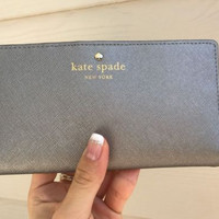 NWT Kate Spade Mikas Pond Stacy Bifold Wallet WLRU1691 Silver Anthracite