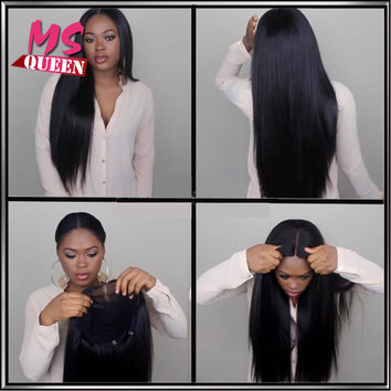 Stock Silky Straight Synthetic Lace Front Wig With Baby Hair Black Hair Wig With Natural Hairline Quality Heat Resistant Hair