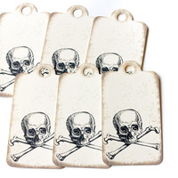Skull & Crossbones Paper Tags - Set of 12  - Pirate Posion Steampunk Scrapbooking Hang Tags Gift Wrap Wrapping Gothic Goth