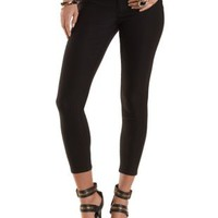Black Mid Rise Cropped Skinny Trousers by Charlotte Russe