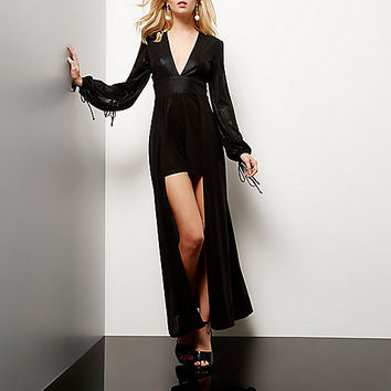 Black metallic layered string tie playsuit - playsuits - playsuits / jumpsuits - women