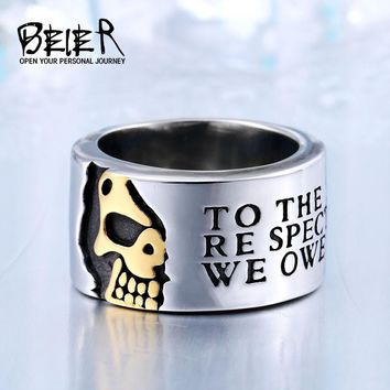 Beier new 316L Stainless Steel high quality ring Gothic cool skull men ring Fashion jewelry