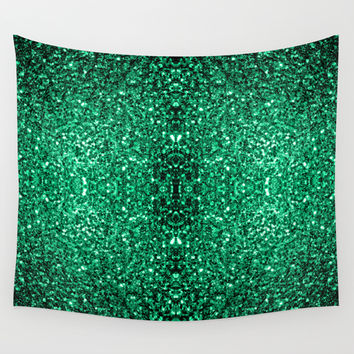 Beautiful Emerald Green glitter sparkles Wall Tapestry by PLdesign