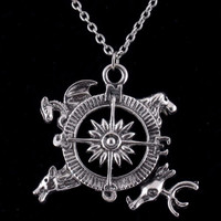 Game of Thrones Song of Ice and Fire Compass Pendant necklace, Eagle, Stag, Wolf, Dragon