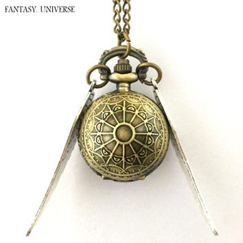 FANTASY UNIVERSE Freeshipping a lot 20PCS Golden Snitch pocket watch NECKLACE RTTEL05