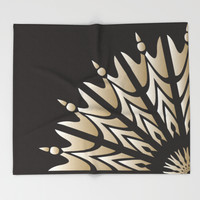Deco Golden Flower Throw Blanket by Octavia Soldani | Society6