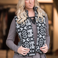 My Graceland Aztec Padded Zip Up Vest (Black/Charcoal)