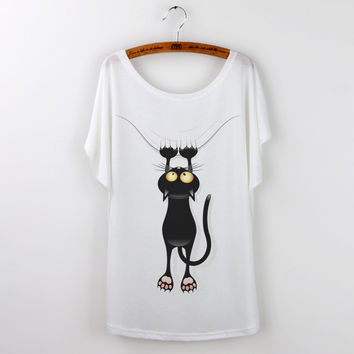 White  Graphic Tees T Shirt Women Tops Cat Print  Short Sleeve Casual Tee Shirt
