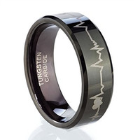 8mm Tungsten Rings for His or Hers Forever Love Laser Engraved Ring Wedding Bands