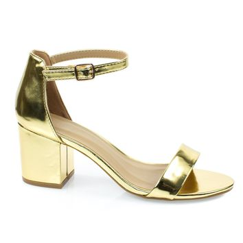 Highlight06S Gold Patent By Bamboo, 70s Low Chunky Block Heel Sandal w Ankle Strap. Women's Shoes