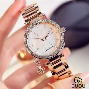 GUOU Brand Diamond Wrist watches Fashion Pendant Watch Women Luxury Rose Gold Full Steel Clock relogio feminino bayan saat