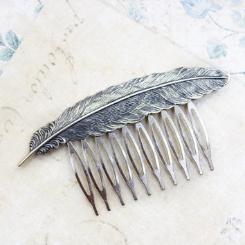 Feather Comb Grey Antique Silver Bird Wing Large Feather Woodland Wedding Bridal Hair Accessories Metal Hair Comb Autumn Winter Fashion
