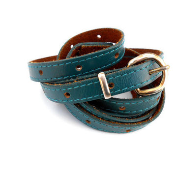 Vintage Belt Thin Leather Turquoise Extra Long Belt Gold Buckle Adjustable