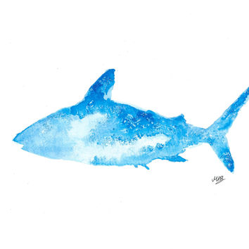 Original Watercolor Shark Painting