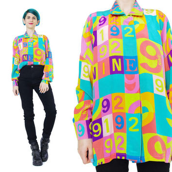 1980s ESCADA Silk Blouse Vintage Designer Shirt Bright Rainbow Silk Shirt Novelty Print Shirt Long Sleeve Blouse 9 Checkered Numbers (M/L)