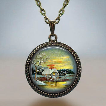 Vintage Christmas Winter Sunrise Red Snow Little Village Resin pendant Antique silver bronze gift for him for her gift