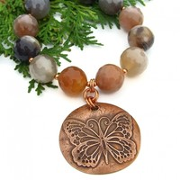 Butterfly Necklace, Chunky Copper Agate Handmade Statement Jewelry
