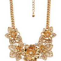 Vintage-Inspired Floral Bib Necklace