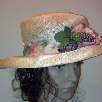 Breezy Soft and Floppy Straw Linen Spring Hat Accented with Sheer Floral Ribbon, Fruit and Flowers- Cute!