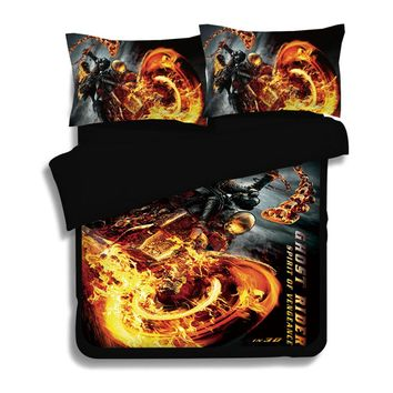 Speed and Passion Explosion Flames and Harley Motorcycles Bedding Set Full King Queen Size kids Duvet Cover bedsheet pillowcase