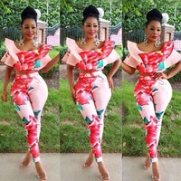 african two piece set Summer O-Neck Jumpsuit Short Sleeve
