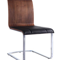 Lizz Dining Chair Natural Walnut  Black (set of 2)