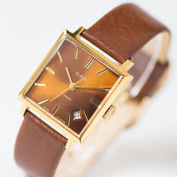Square modern lady watch Slava\Glory – gold plated women's watch gift - mint condition burgundy watch rare unisex –new premium leather strap