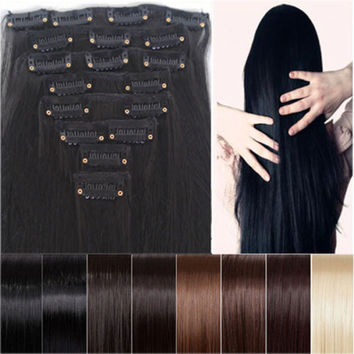 """Clearance Sale Cheapest 8pcs 26"""" Long 170g Straight Style Hair Extension Create Ombre Feeling Soft Synthetic 14 Colors Clip In"""