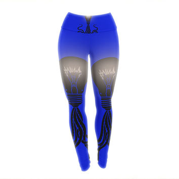 "BarmalisiRTB ""Octopus Bulb"" Blue Tentacles Yoga Leggings"
