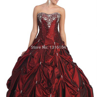 2015 New Winter Cheap Burgundy Ball Gown Floor Length Sweetheart BubblesTaffeta Corset Senior Prom Dress For Girls